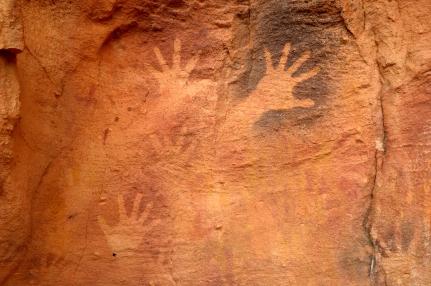 mutawintji heritage tours hand stencils black and ochre